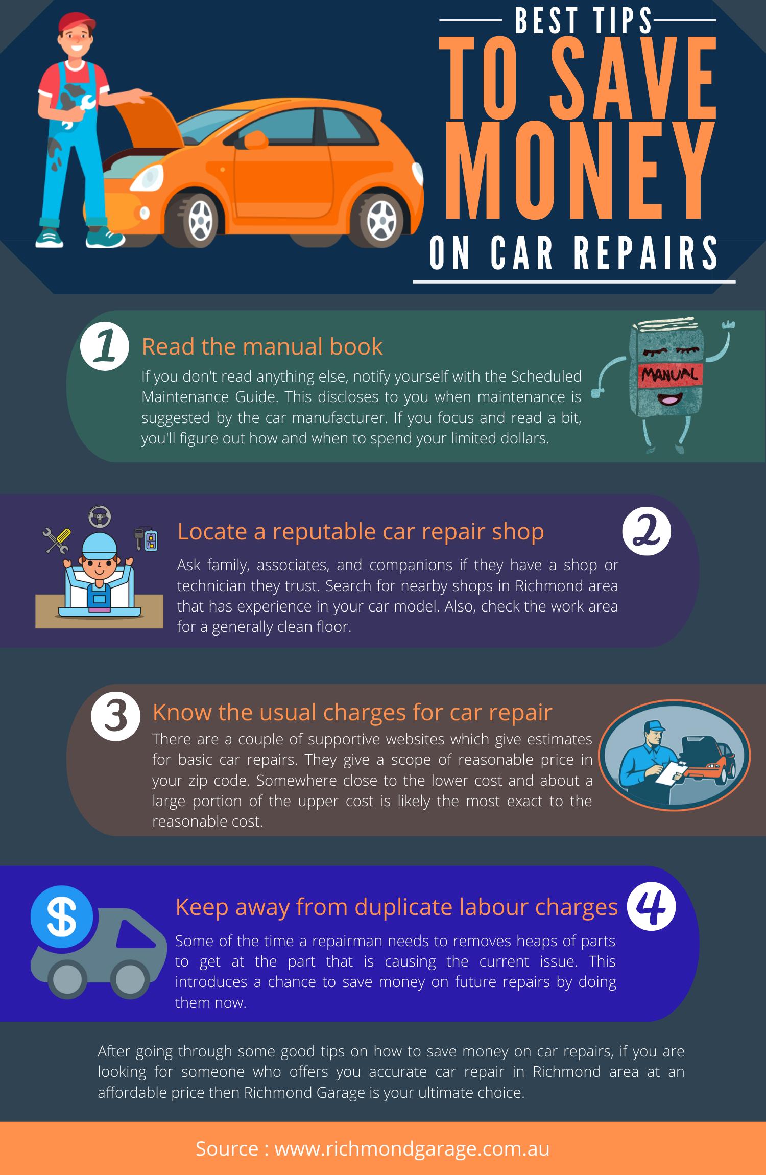 Best Tips To Save Money On Car Repairs Visual Ly Auto Repair Repair Saving Money
