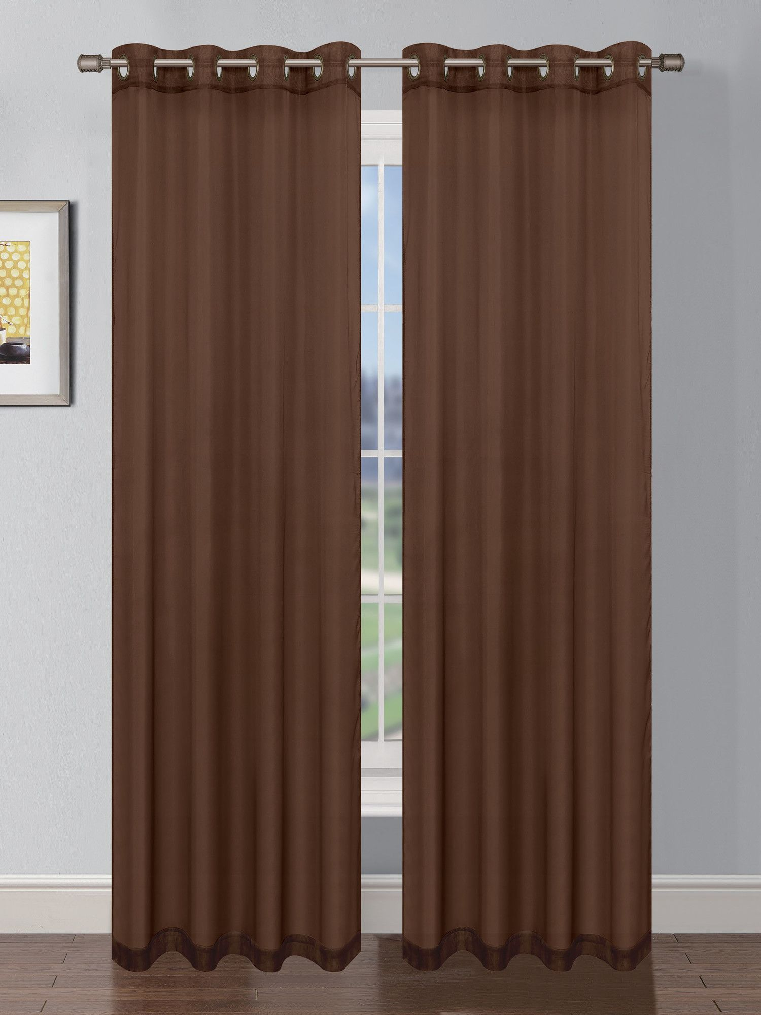 Sheer Elegance Faux Linen Grommet Extra Wide Curtain Panels