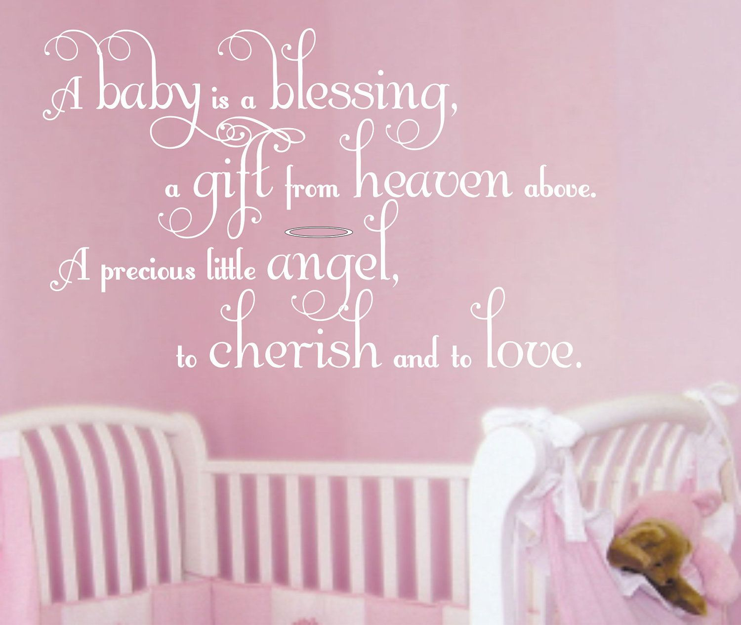 Wall Decal Baby Nursery Saying Wall Quote Boy Girl Decals Vinyl Lettering  Blessing