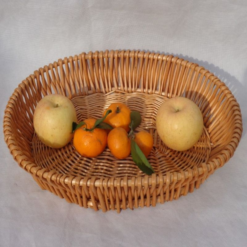 Great DIY Round Oval Handmade Rattan Storage Basket Organizer Incorporated Fruit  Vegetable Food Picnic Tray Holder For
