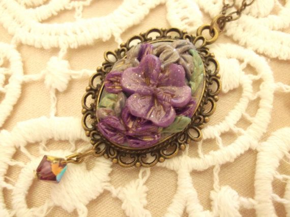 Purple Flower Pendant by BeadyizeGifts on Etsy, £20.00