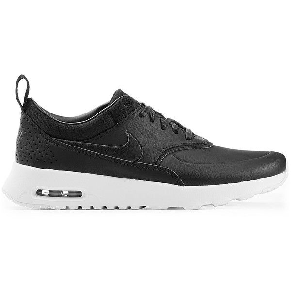 Nike Air Max Thea Premium Leather Sneakers ($120) ❤ liked on Polyvore featuring shoes, sneakers, black leather trainers, nike footwear, nike, leather sneakers and nike sneakers