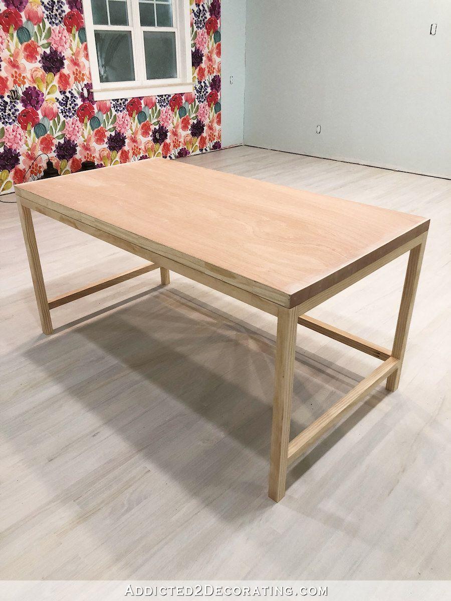 How To Build A Simple Diy Writing Desk Addicted 2 Decorating How To Build A Simple Diy Writing Desk Addicted In 2020 Diy Wood Desk Simple Desk Diy Office Desk
