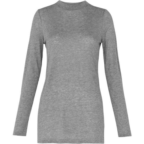 Whistles Longline Side Slit Top, Grey ($76) ❤ liked on Polyvore featuring tops, side slit top, grey long sleeve top, longline top, gray top and grey top