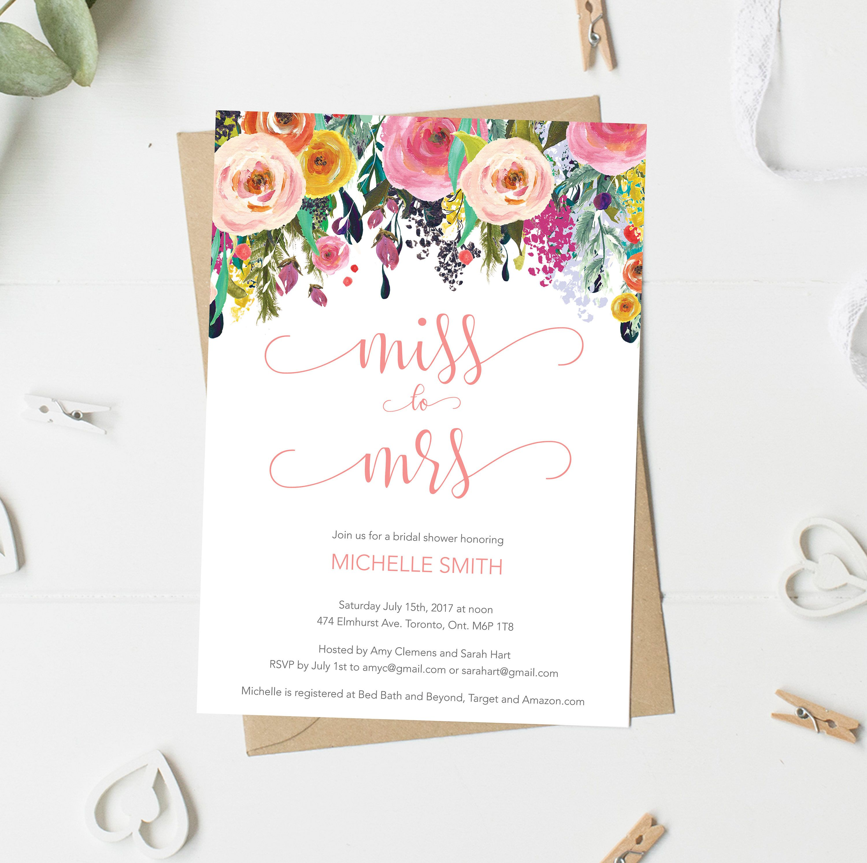 Bridal Shower Invitation Miss To Mrs Colorful Spring