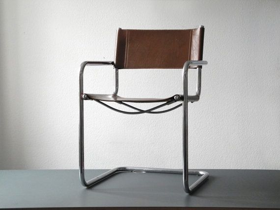 Elegant Original Vintage Matteo Grassi Leather Cantilever Chair   Very Good  Vintagezustand