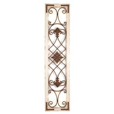 Distressed Cream Wood U0026 Metal Wall Panel