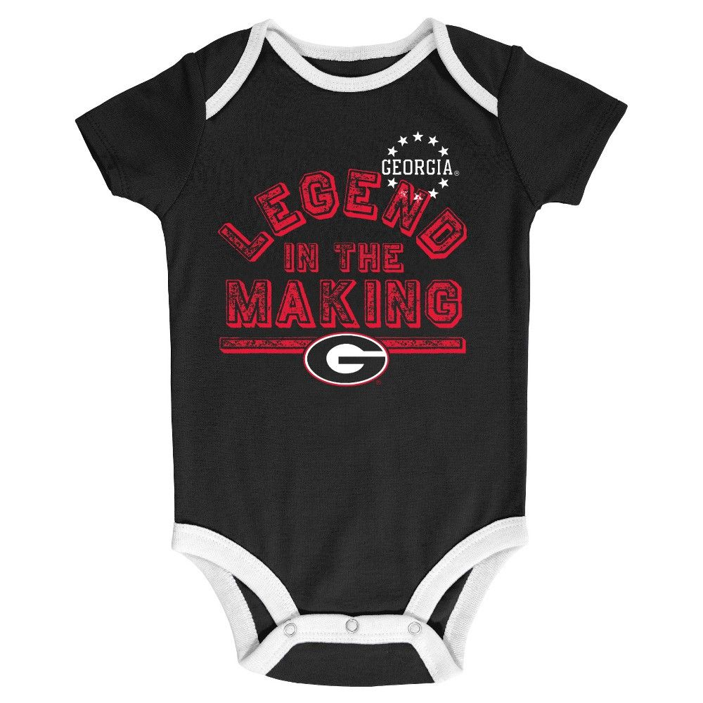 NCAA Bulldogs Boys' Newborn 3 Pack Bodysuits 69
