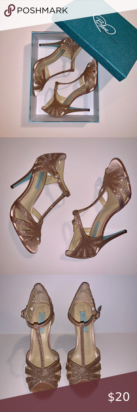 Blue by Betsy Johnson Champagne Sparkle Heels - Size 8.5 - Good Condition - worn...