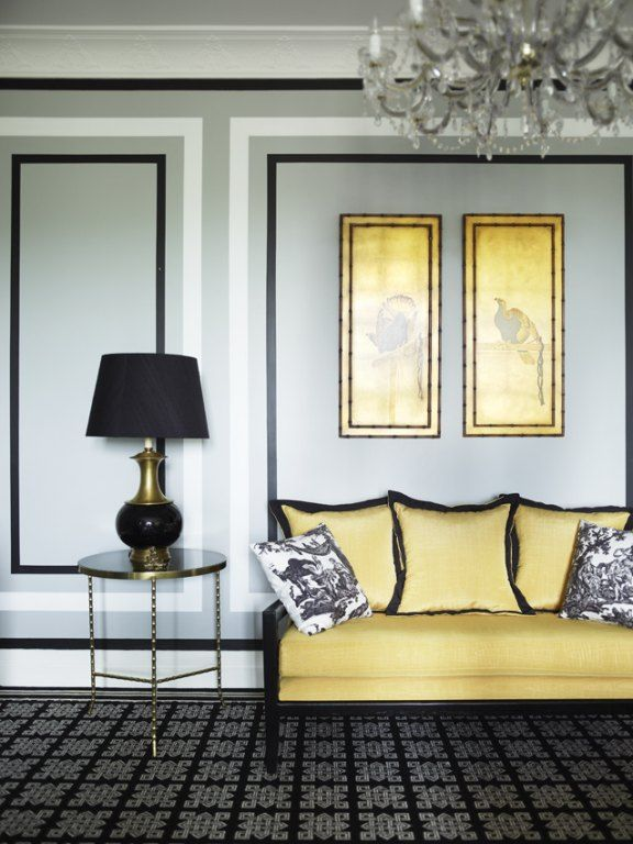 A Cheerful Canary Colored Sofa With Artwork To Match, Juxtaposed With Moody  Grey + Black · Yellow SofaGray SofaLiving ...