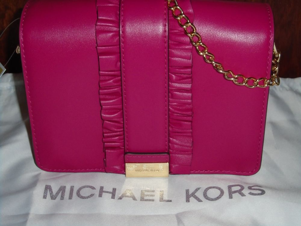 3168c2fd467b Michael Kors Jade MD Gusset Clutch rows ruffles bag leather snap ultra pink   MichaelKors  clutch