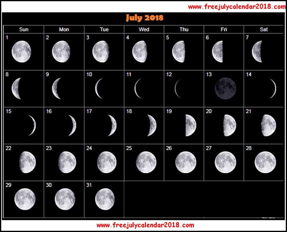 New Moon Phases For July Calendar Full Moon Calendar