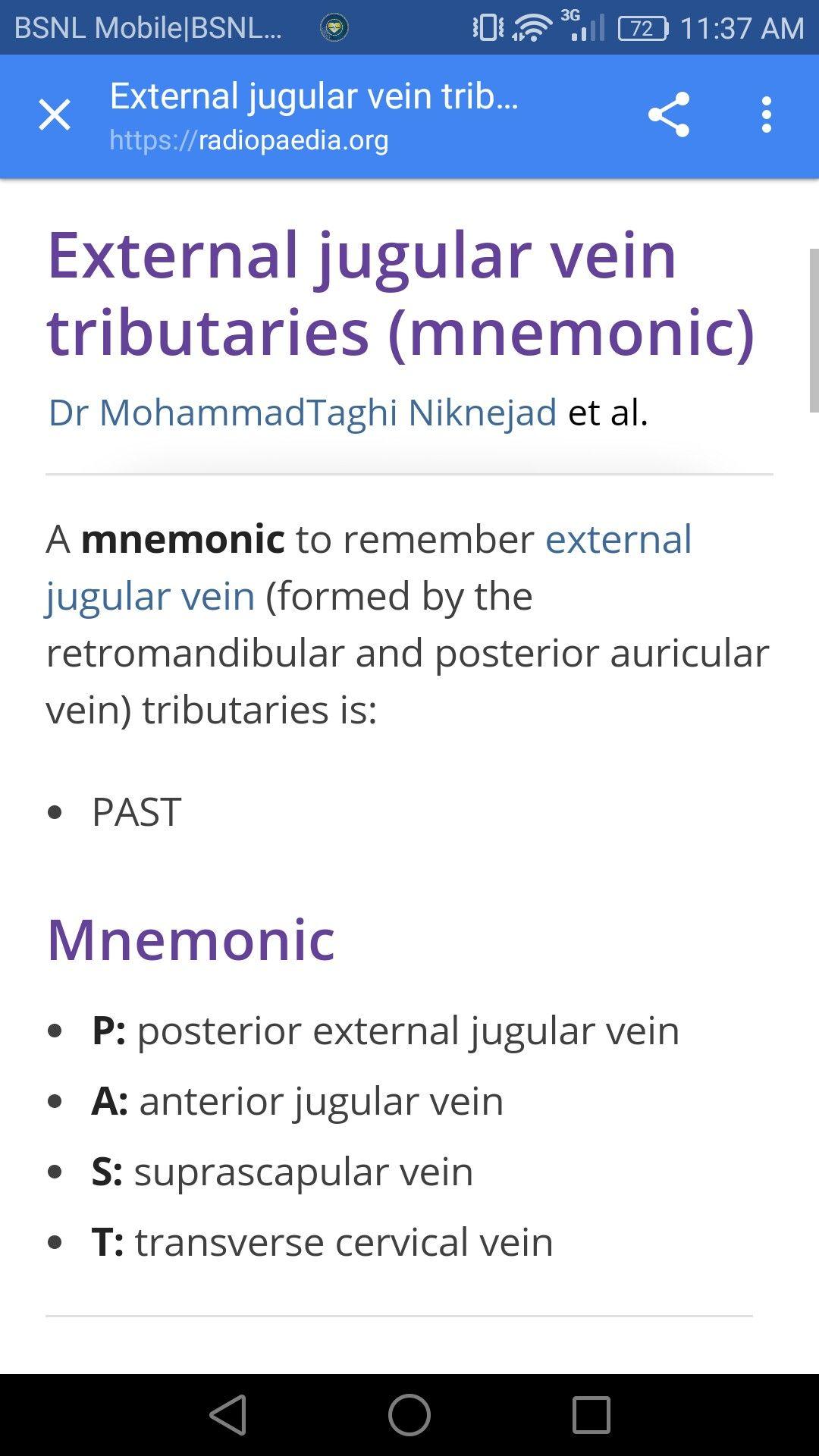 External Jugular Vein Tributaries Mnemonic Mbbs Studymotivation