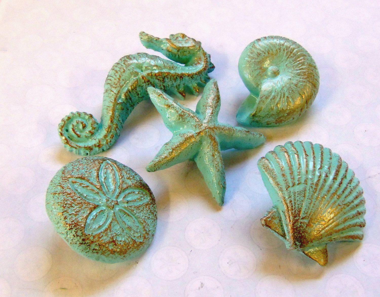Charmant Drawer+Pulls+Knobs+Seashells+Starfish+Seahorse+Sand+by+prettyware,+$25.00