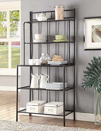 This 5 Tier Black Metal Glass Shelves Kitchen Bakers Rack Is A