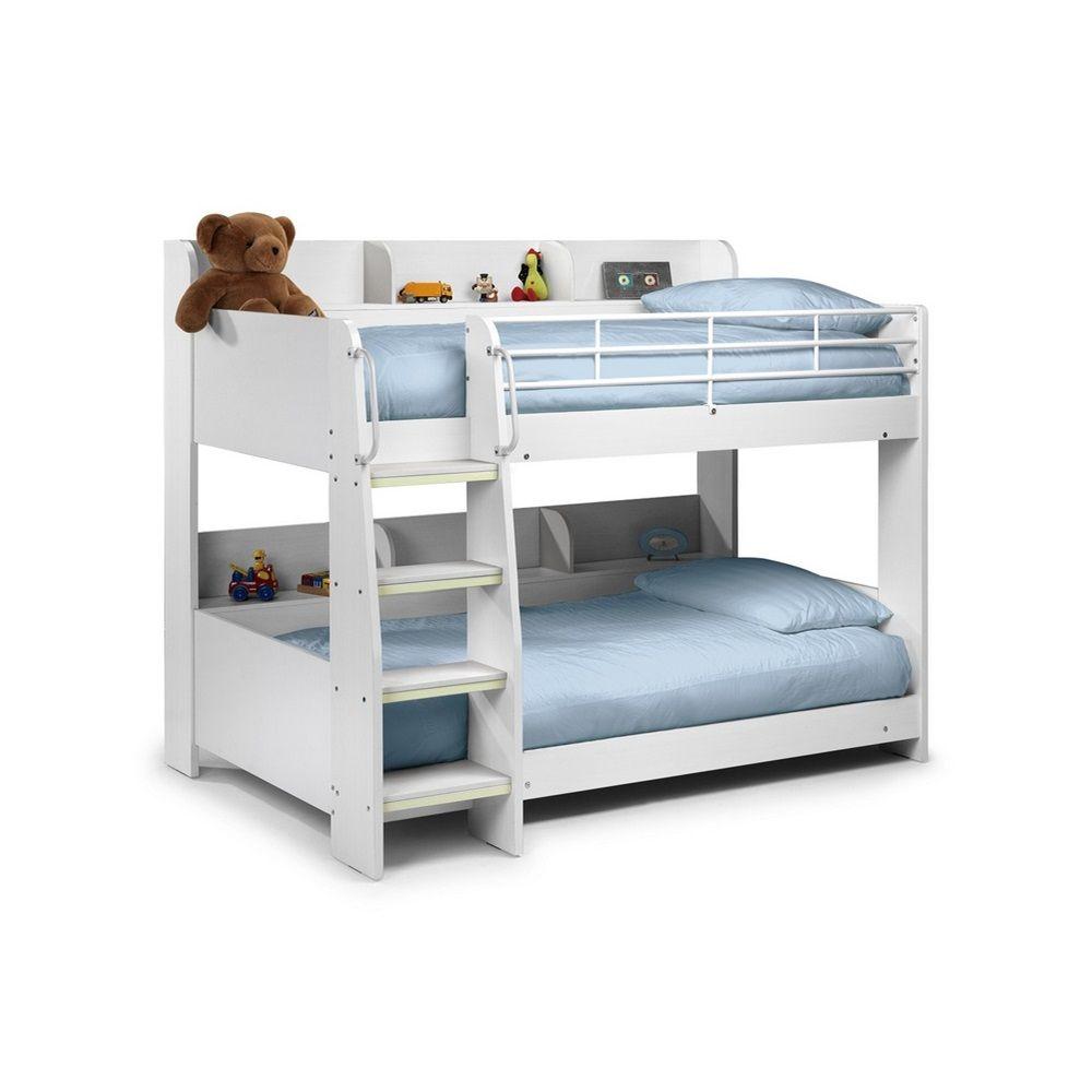 Julian Bowen Domino Kids Bunk Bed With Shelf In White Finish