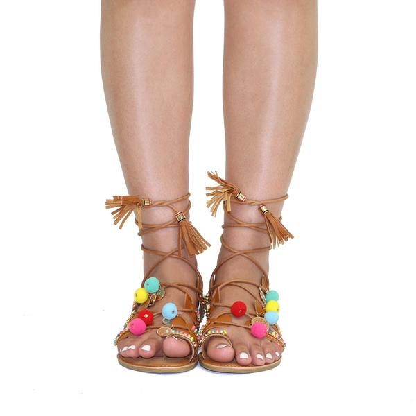 f5f5d605d3b Tan Multi Color Pom Pom Tribal Tassel Lace Up Sandals