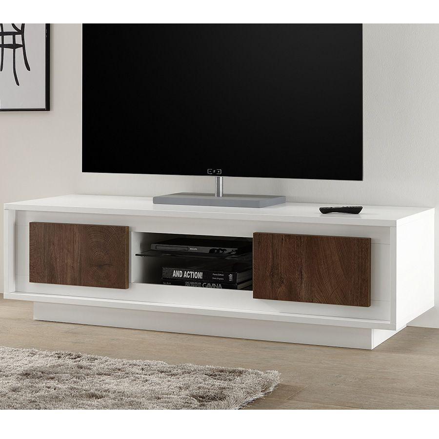 Meuble Tv Blanc Laque Mat Et Couleur Bois Malt Meuble Tv