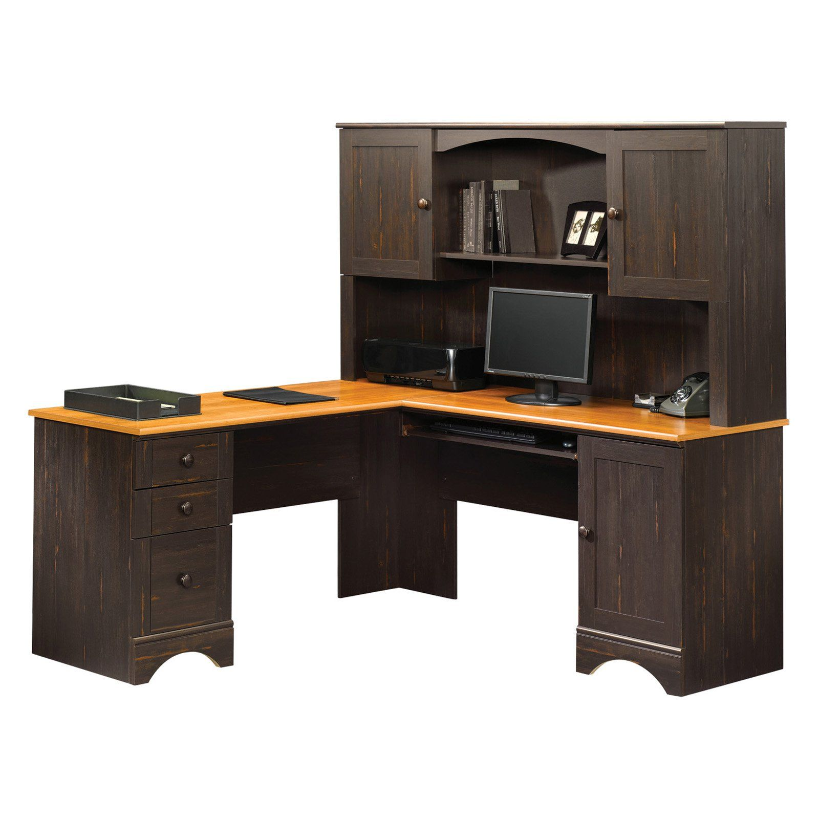 Sauder Harbor View Corner Computer Desk With Hutch   Antiqued Paint | From  Hayneedle.com