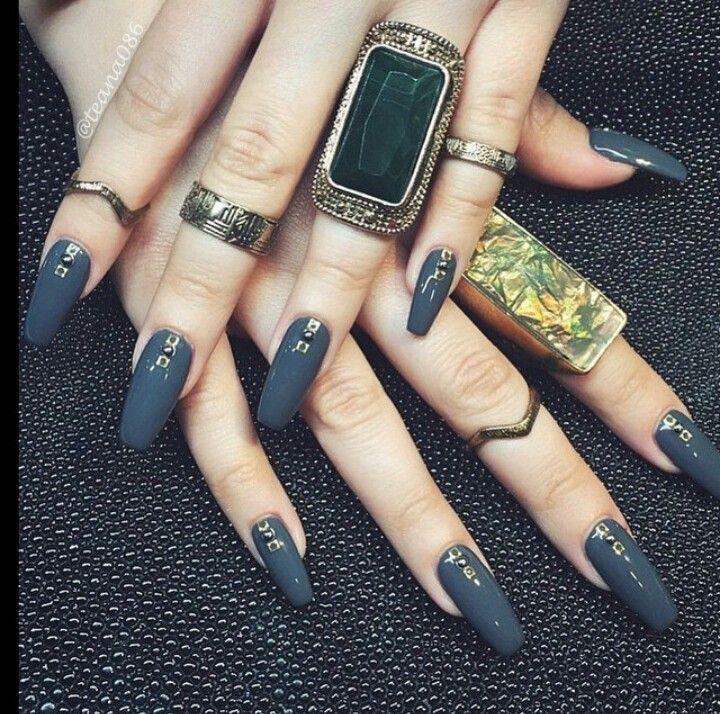 Teana Nails | Dark Jade Square Tip Acrylic Nails w/ Ring Set ...