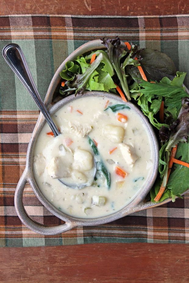 Creamy Chicken and Gnocchi Soup - Emily Bites