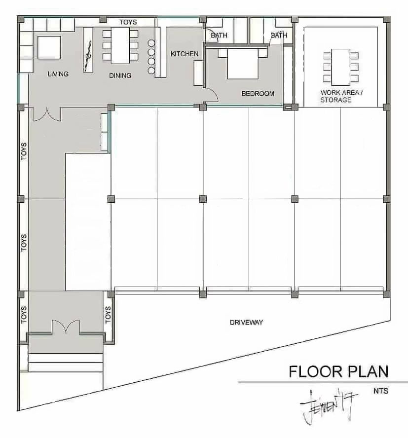 Ultimate Floor Plan For Car Auto Enthusiast With Living Quarters Man Cave Floor Plans Shop With Living Quarters Interior Floor Plan