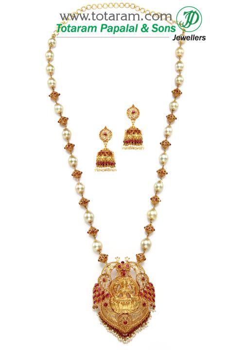 22K Gold 3 in 1 LAKSHMI Long Necklace Drop Earrings Set with