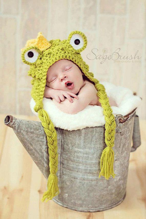 Crochet Newborn Frog capo Patrón Hat-PDF Príncipe | CROCHET - Gorros ...