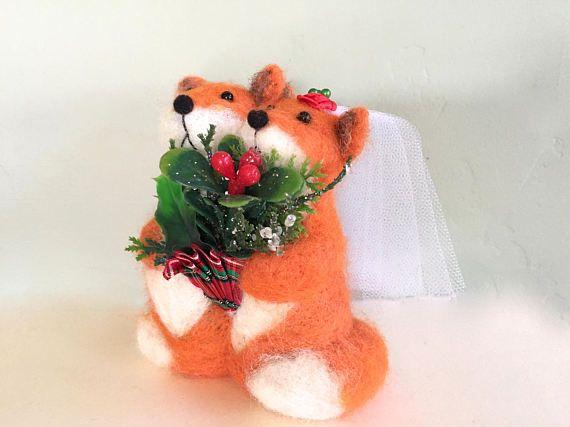 Christmas wedding cake topper Christmas foxes Christmas   Wedding ...