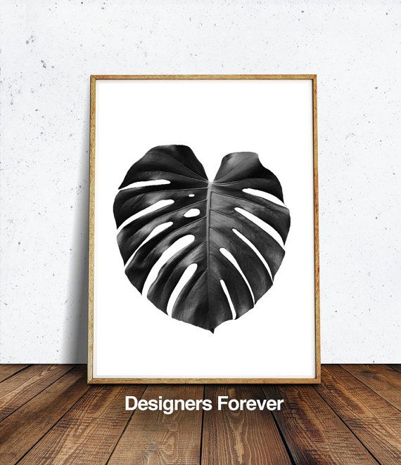 Monstera leaf print palm leaf print monstera deliciosa printblack leaf print botanical print black white affiche tropical tropical art