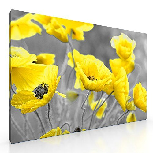 Large Yellow Poppy Flowers in Field Canvas Picture Floral Print. 20 ...