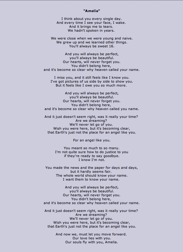Amelia - Tonight Alive. This gives me tears every time. Written ...