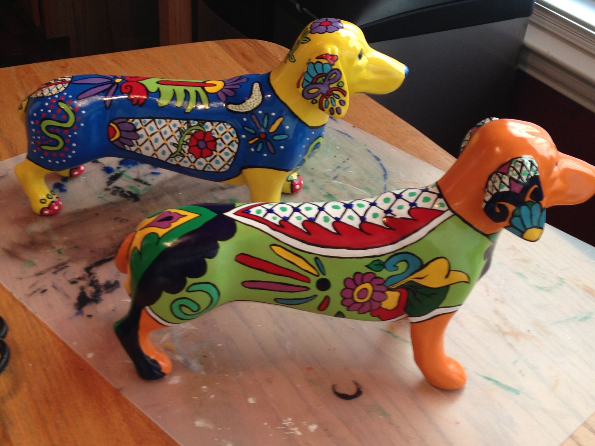 My attempt at Talavera dachshunds.