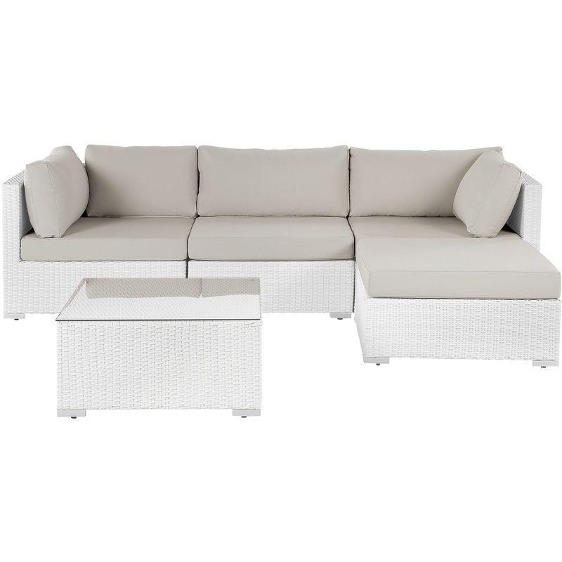 Salon De Jardin En Rotin Blanc Sano Ii Beliani In 2019 Couch