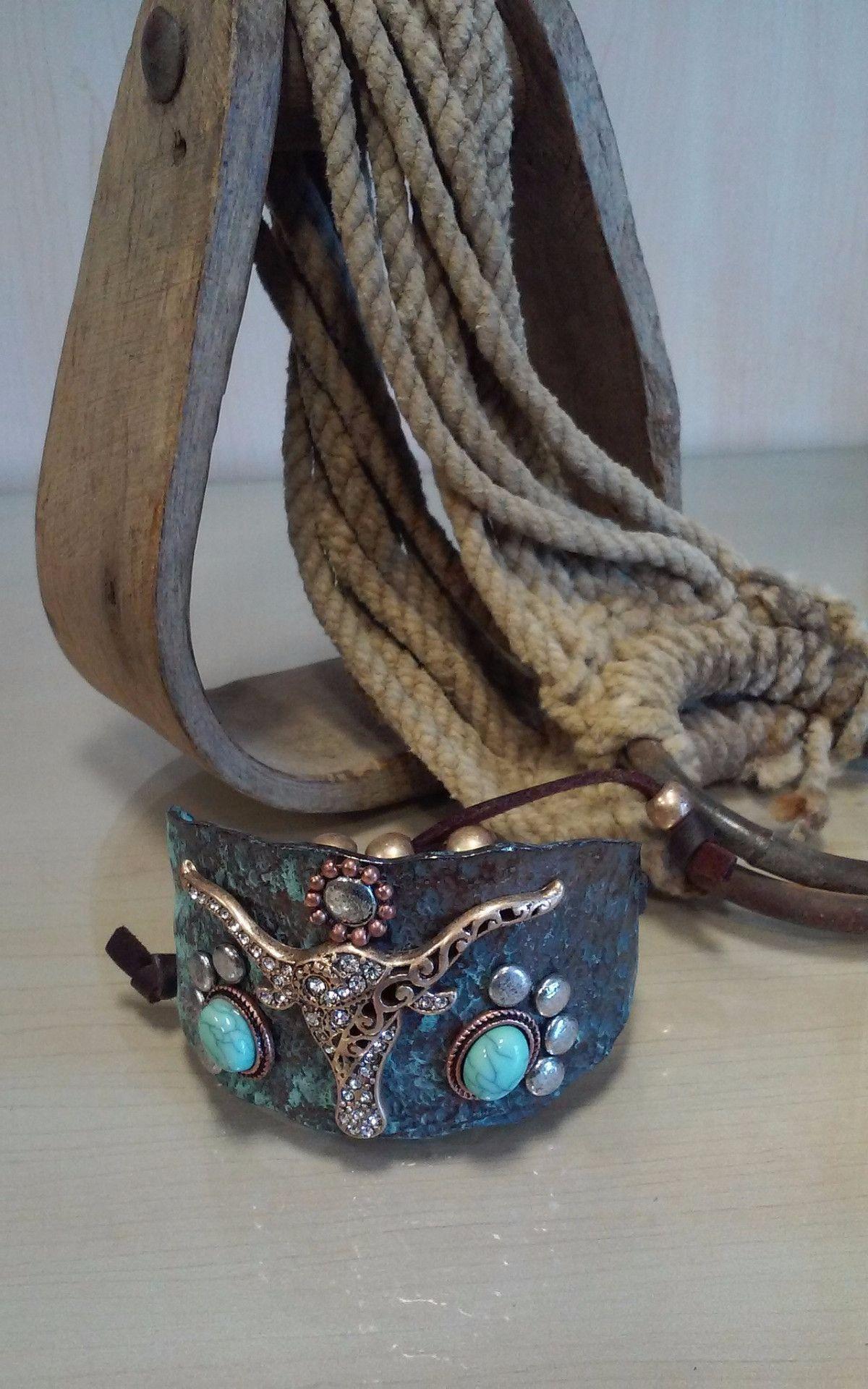 Hammered Longhorn Burnished Adjustable Bracelet