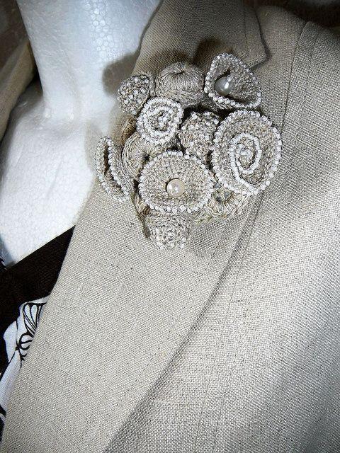 crochet brooch coralreef | flores de tela | Pinterest | Broche de ...