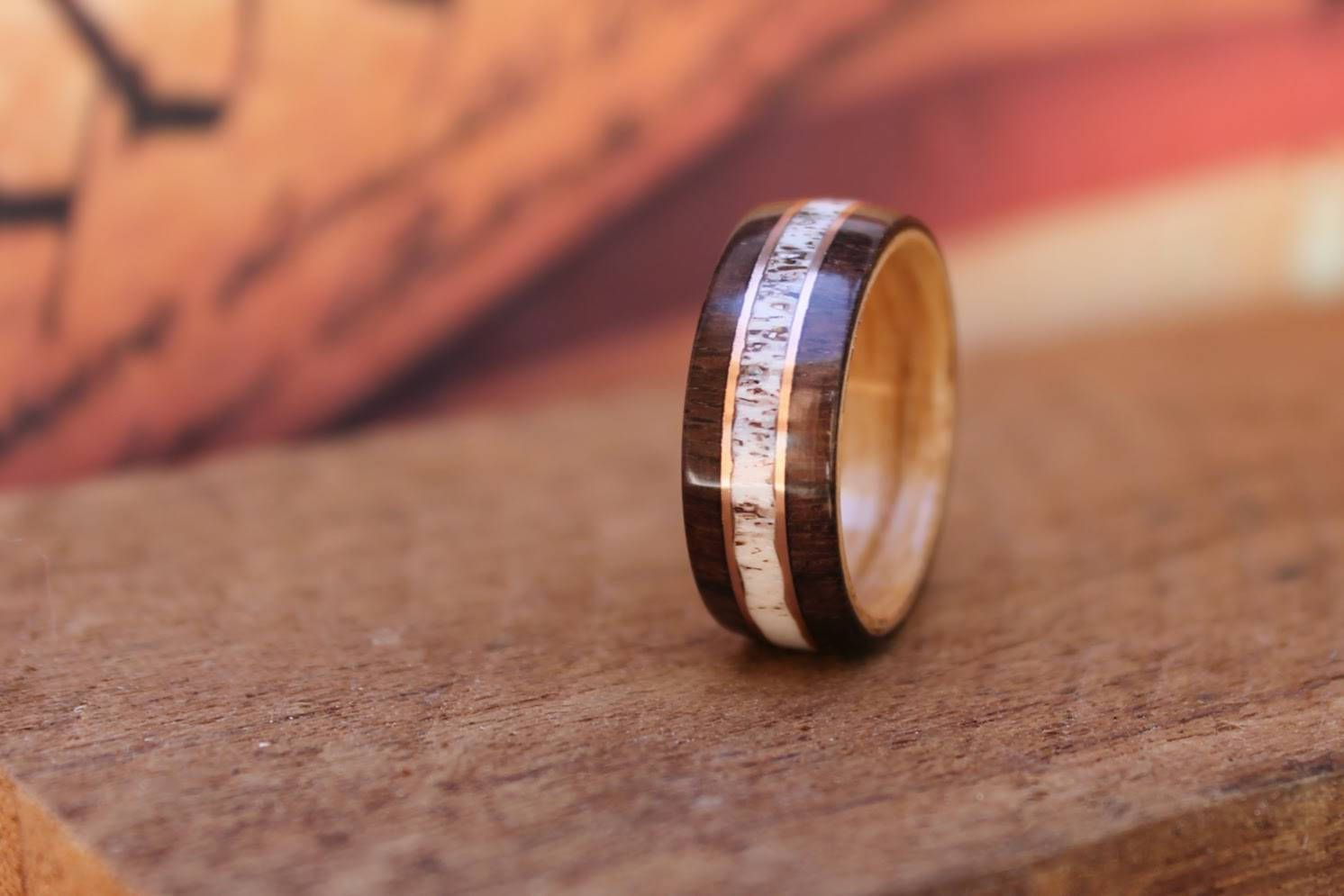 East Indian Rosewood Ring with Elk Antler Copper Dyls Ring