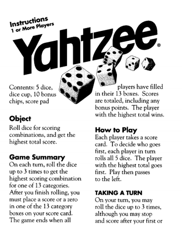 image relating to Yahtzee Rules Printable identified as Heres a fixed of formal Yahtzee participating in suggestions towards Hasbro