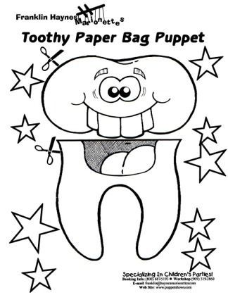 tooth puppet for dental health coloring sheets