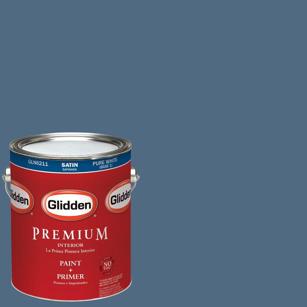 glidden premium 1 gal hdgv21d midship blue satin latex interior