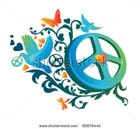 Stock Images Similar To Id 97010027 Paisley Peace Sign Tattoo