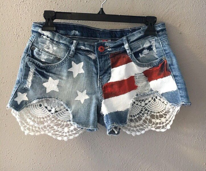A Personal Favorite From My Etsy Shop Https Www Etsy Com Listing 511651954 American Flag Hand Painted Shorts Painted Shorts Denim Design Clothes