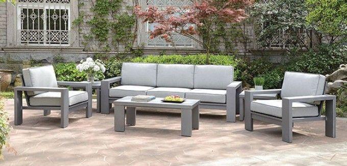 Cm Os1883 6pc 6 Pc Ballyshannon Gray Metal Frame Gray Cushions