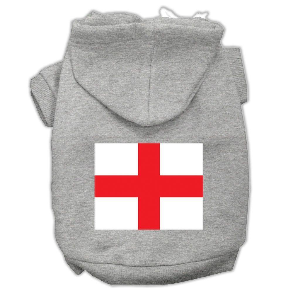St. George\'s Cross (English Flag) Screen Print Pet Hoodies Grey Size ...
