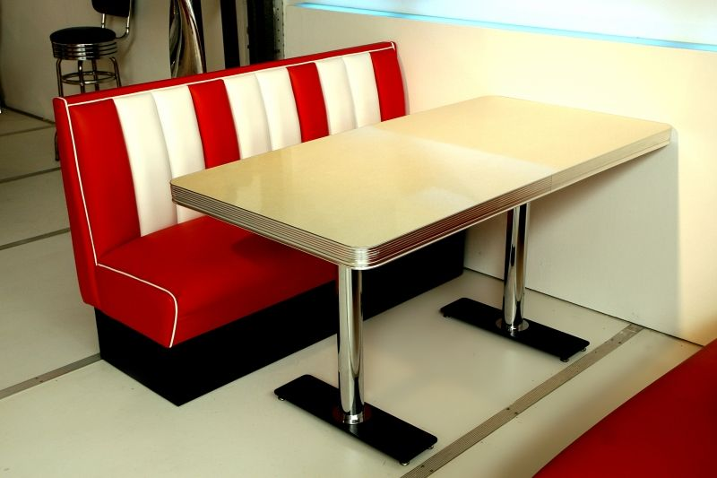 Retro Diner Booths   Bel Air Retro Furniture Diner Booth Table TO25W   150  X 76