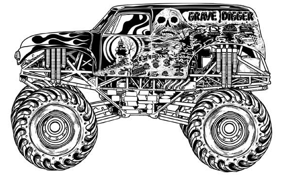 Monster Truck Grave Digger Coloring Page Kids Play Color