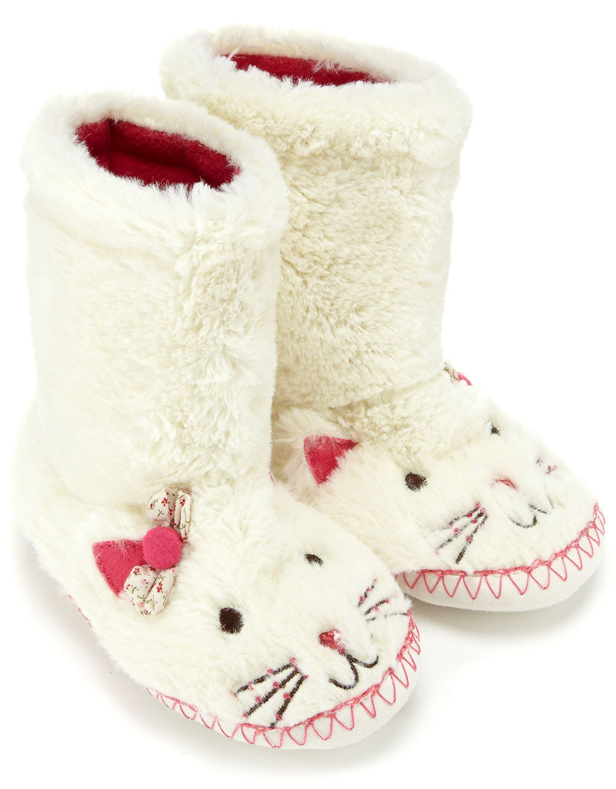 d6e16a2ea16 Supersoft Cat Slipper Boots in Cream They Have A Bow!