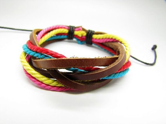 Real 3PCS Leathers and Cotton Ropes Woven Cuff by braceletcool, $3.50