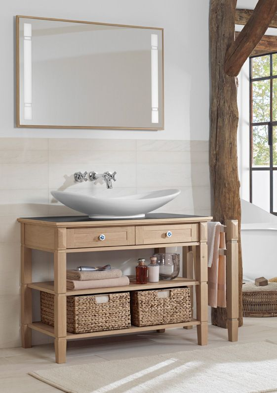 Un brin rustique, ce meuble sous lavabo (100 x 77 x 55 cm), en chêne - meuble salle de bain en chene massif
