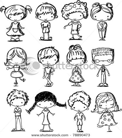 Cartoon Drawings Of Children Illustration People And More In